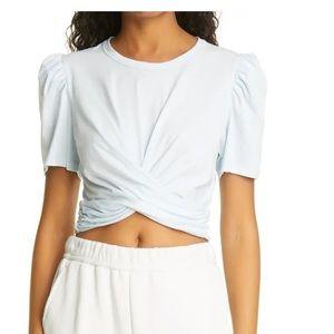 A.L.C. Monica Wrap Cotton T-Shirt IN BLUE SIZE M